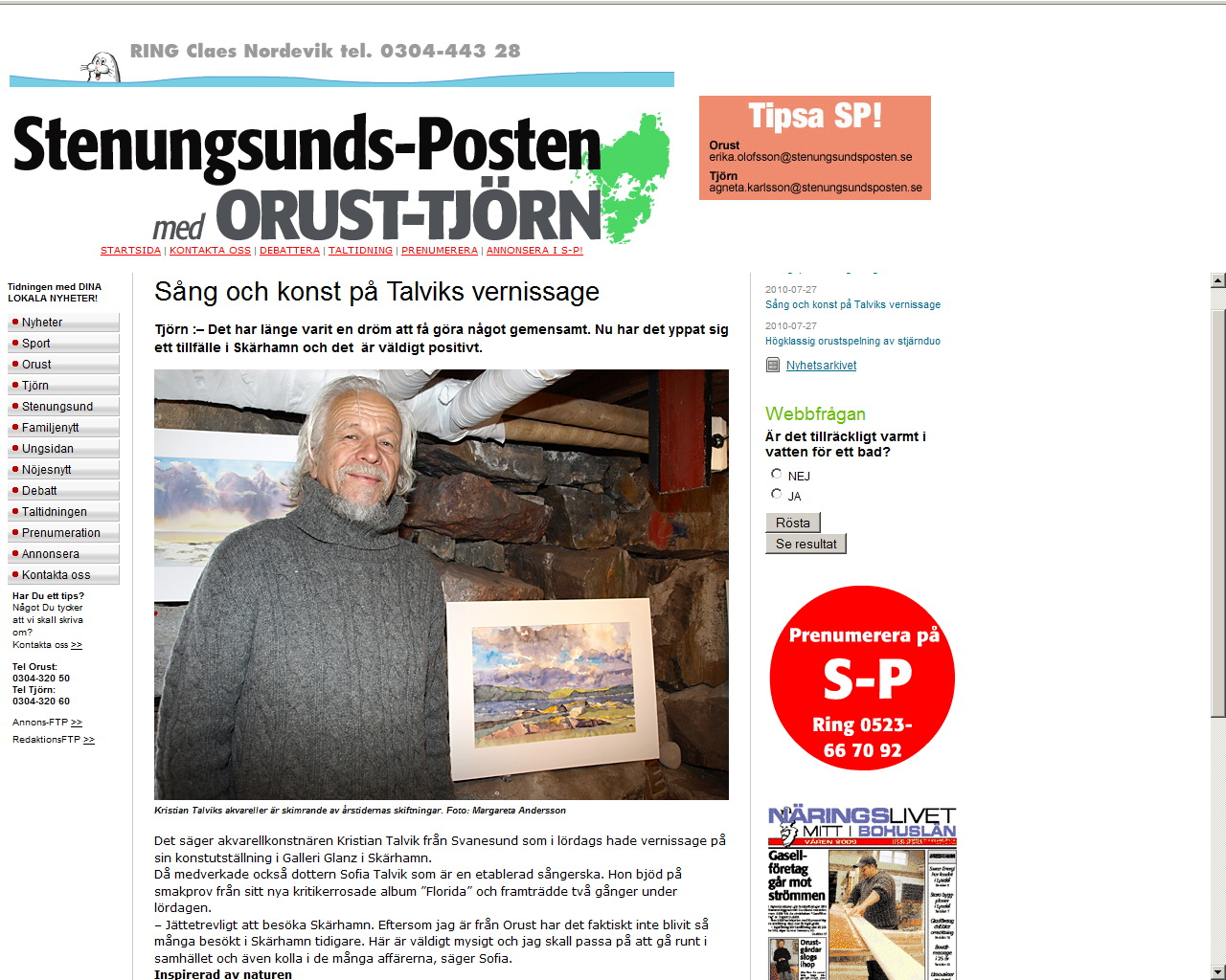 Kristian Talvik blir intervjuad i Stenungsunds-posten