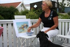 Anita Glanz drar en vinnare av akvarell av Kristian Talvik