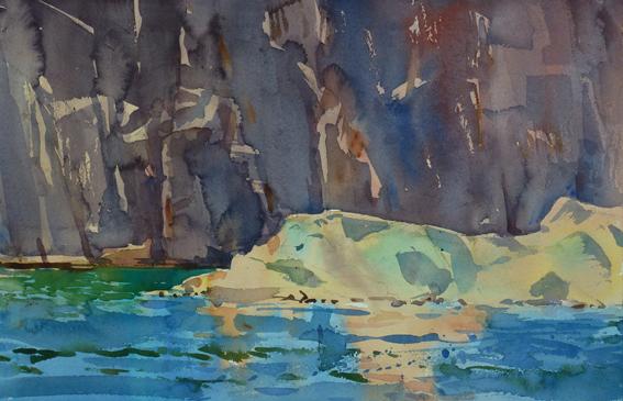 Mjölkeviken. Akvarell av Kristian Talvik